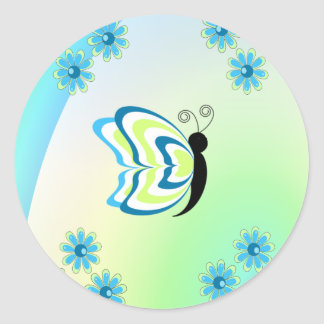 Butterflies Are Groovy Classic Round Sticker