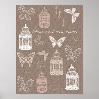 Butterflies, Birdcage Retro Art Poster
