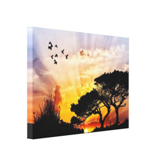 Butterflies & Birds Sun Set* Canvas Print