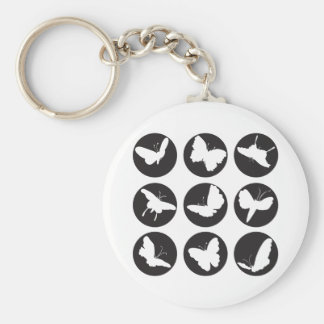 Butterflies Black and White Basic Round Button Key Ring