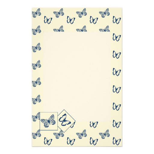 Butterflies Blue Personalized Stationery
