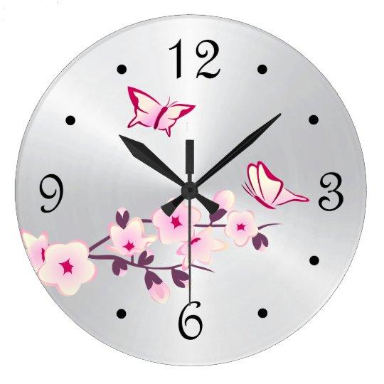 Butterflies Cherry Blossoms Silver Large Clock