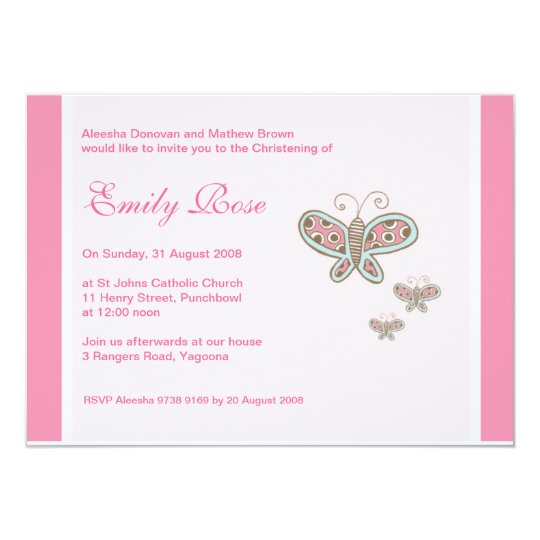Butterflies Christening Invitations