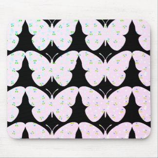 Butterflies-Country-Print(c) Blk_Pink Mouse Mat