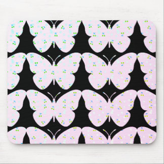 Butterflies-Country-Print(c) Blk_Pink Mouse Pad