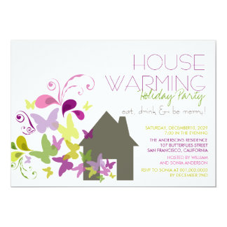 Butterflies Deco Leaves Housewarming Holiday Party 13 Cm X 18 Cm Invitation Card