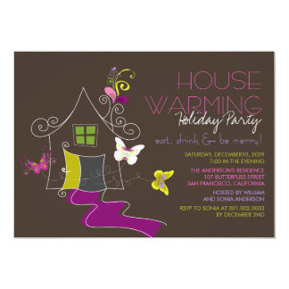 Butterflies Deco Leaves Housewarming Holiday Party Card