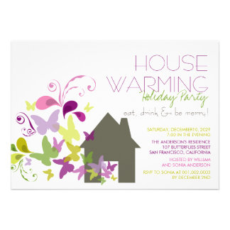 Butterflies Deco Leaves Housewarming Holiday Party Personalized Invite