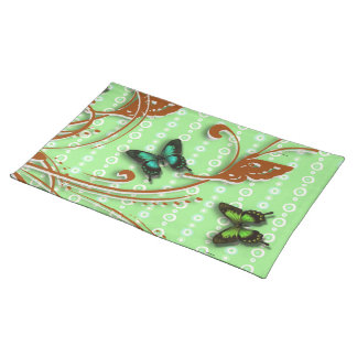 Butterflies farfalle green placemat
