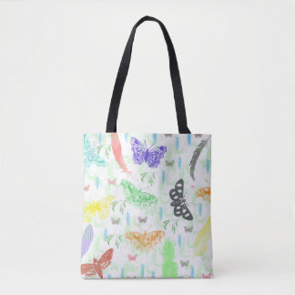 butterflies, Feathers, Vines Allover print tote