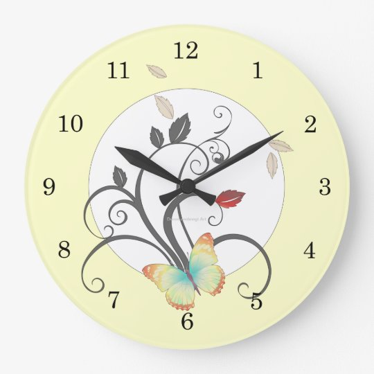 Butterflies Flower Art Deco Wall Clock