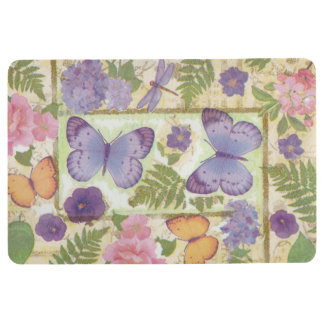Butterflies Flowers and Dragonfly Collage Floor Mat