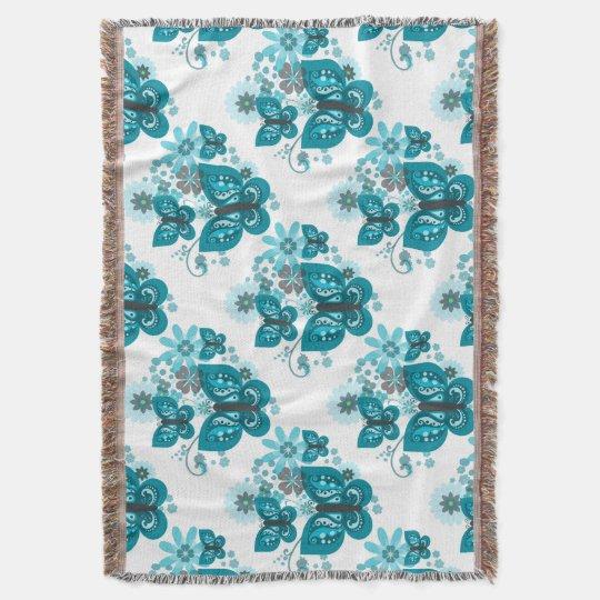 Butterflies & Flowers (blue) Blanket Throw