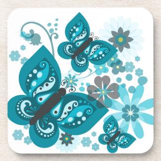 Butterflies & Flowers (blue) Coasters