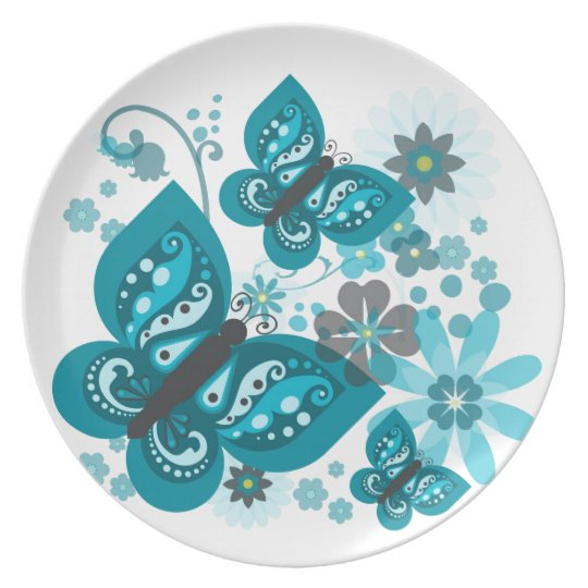 Butterflies & Flowers (blue) Melamine Plate