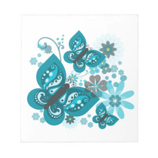 Butterflies & Flowers (blue) Notepad