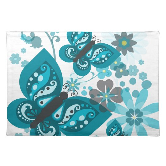 Butterflies & Flowers (blue) Placemat