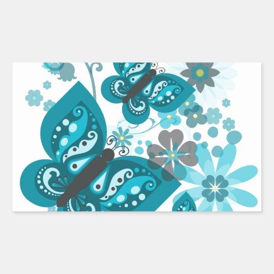 Butterflies & Flowers (blue) Rectangular Stickers