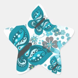 Butterflies & Flowers (blue) Star Stickers
