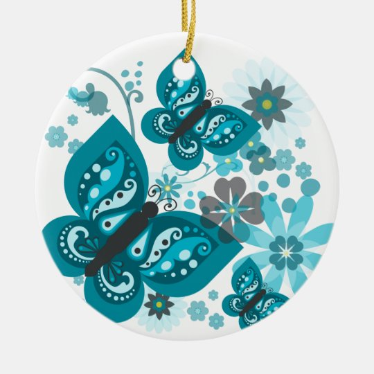 Butterflies & Flowers Circle Ornament Dble-sided