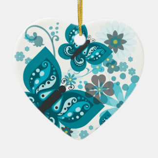 Butterflies & Flowers Dble-sided Heart Ornanent Christmas Ornament