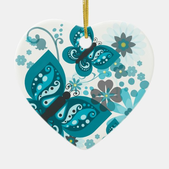 Butterflies & Flowers Dble-sided Heart Ornanent Christmas