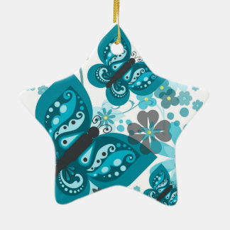 Butterflies & Flowers Dble-Sided Star Ornament