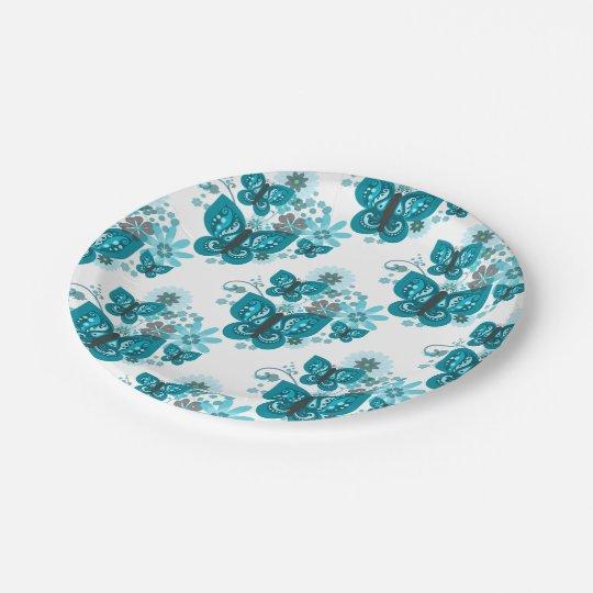 Butterflies & Flowers Paper Plates (Blue)