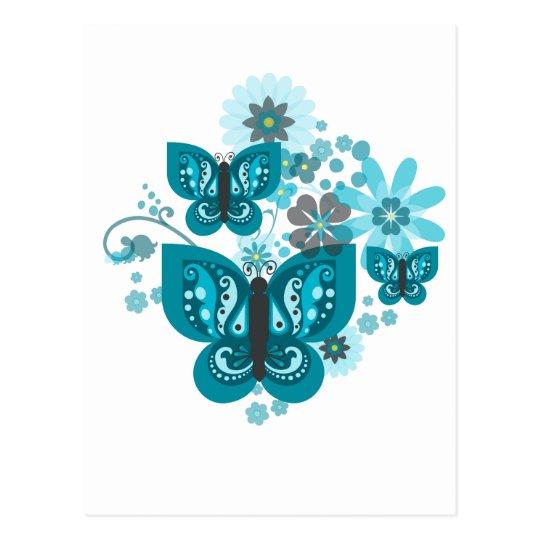 Butterflies & Flowers Postcard (Blue) (Portrait)