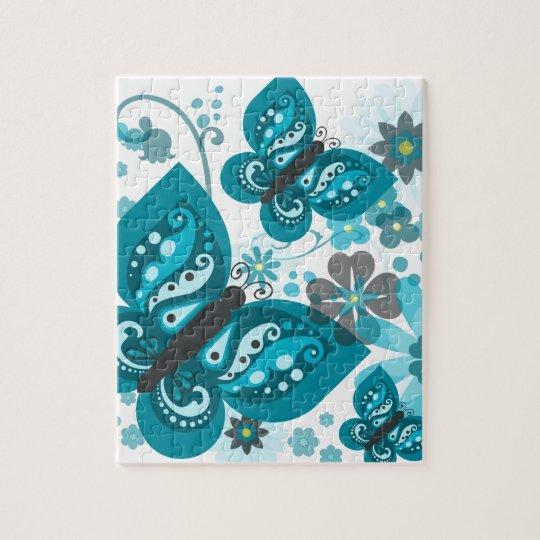 Butterflies & Flowers Puzzle (Blue)