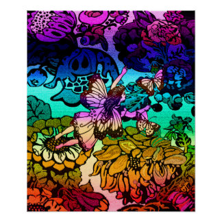 Butterflies, Flowers, Rainbow, Angel Print