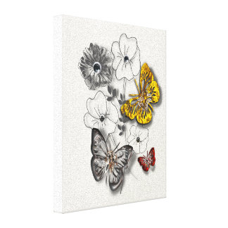 Butterflies Flowers Red Gold Grey Minimalist Style Canvas Print