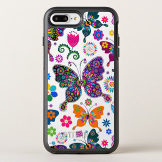 Butterflies & Flowers Retro Colorful Pattern OtterBox Symmetry iPhone 8 Plus/7 Plus Case