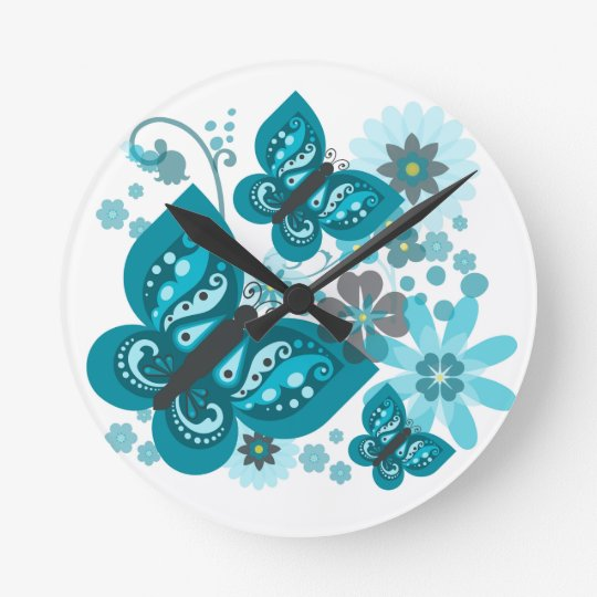 Butterflies & Flowers Round Clock (Blue)