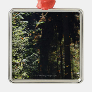 Butterflies flying in forest Silver-Colored square decoration