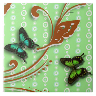 Butterflies green background large square tile