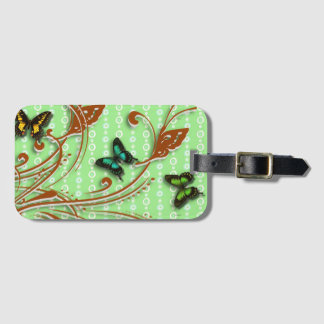 Butterflies green luggage tag