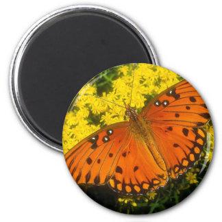 butterflies gulf fritillary 6 cm round magnet