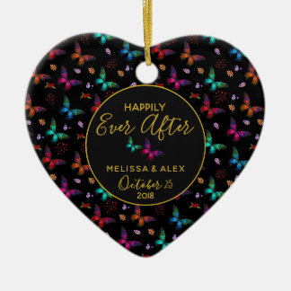Butterflies Happily Ever After Wedding Christmas Ornament