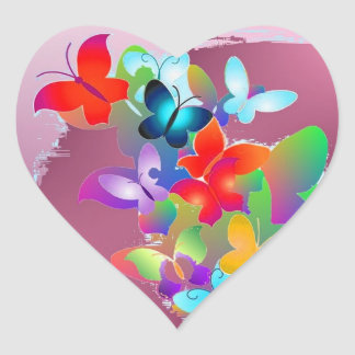 Butterflies Heart Sticker