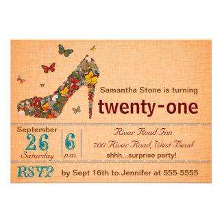 Butterflies High Heel 21st Birthday Invite