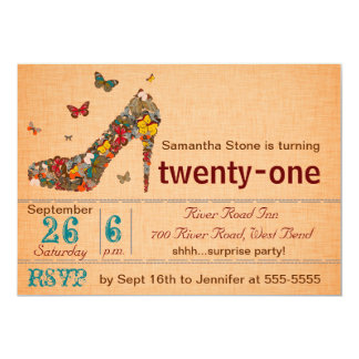 "Butterflies High Heel 21st Birthday Invite 5"" X 7"" Invitation Card"