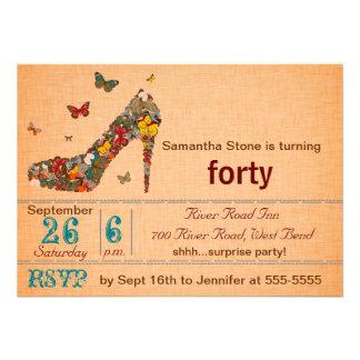 Butterflies High Heel 40th Birthday Invite