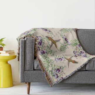 Butterflies Hummingbirds Flowers Throw Blanket