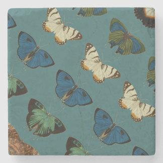 Butterflies in Blue Stone Coaster