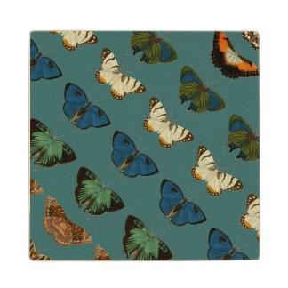 Butterflies in Blue Wood Coaster