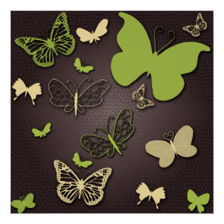 Butterflies in Earth Tones Canvas Poster