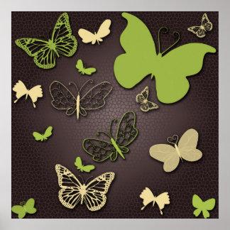 Butterflies in Earth Tones Poster