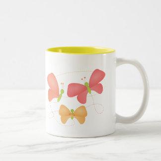 Butterflies in Fruity Colors Two-Tone Mug