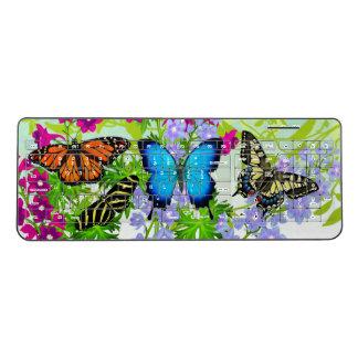 Butterflies in Garden Flowers Wireless Keyboard
